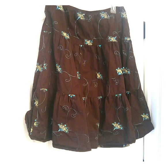 Brown tiered skirt with teal embroidery sequins